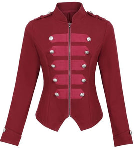 Zipper Front Military Jacket - Alycia Mikay Fashion