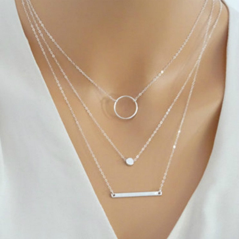 New Choker Fashion Wild Aperture Metal Rods Necklace Gold Silver Layered Necklace For Women Charm Gift Jewellery