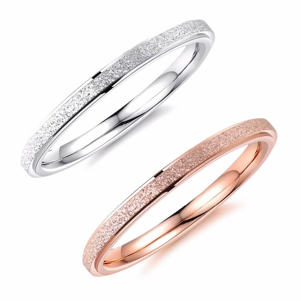 Fashion Simple Scrub Stainless Steel Women 's Rings 2 mm Width Rose Gold Color Finger Jewelry Gift For Girl