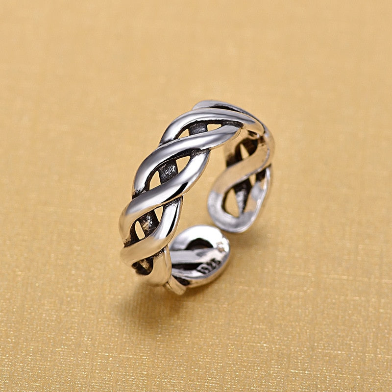 Sterling Silver Open Rings For Women Original Handmade Silver Winding Twist Hollow Rings Jewelry
