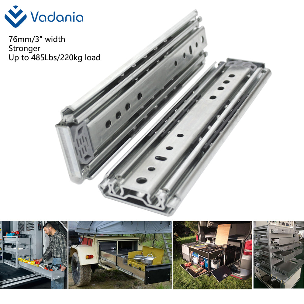 "3""/76mm width Ultra Heavy Duty Drawer Slides 485lb, 1 pair US