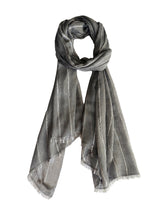 Berber Fine Line Shawl-50 Cashmere 50 Silk-Charcoal Light Grey-Styled Tie
