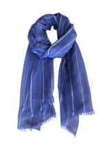 Berber Fine Line Shawl-50 Cashmere 50 Silk-Taurea Blue Light Grey-Styled Tie