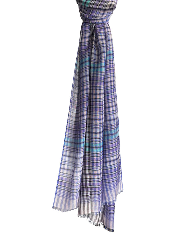 Denis-Colomb-Lifestyle - Cashmere-Silk-Carnival-Plaid-Shawl