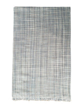 Chitwan Silk Shawl Light Grey Blue Jade Charcoal fold
