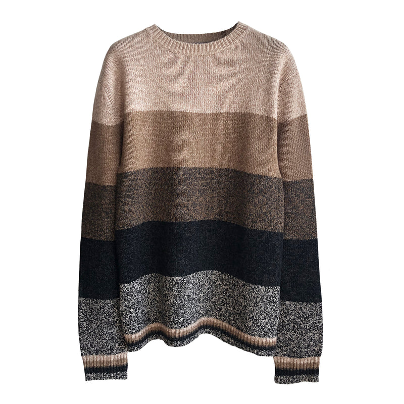 Denis Colomb Lifestyle - White Sand Taupe Cappuccino African Night Black Cashmere Hand Knit Tweed Stripes Sweater