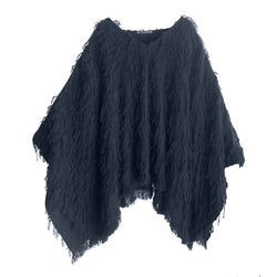 Denis Colomb Lifestyle - Midnight Blue Yak Fur Fringe Sahara Poncho