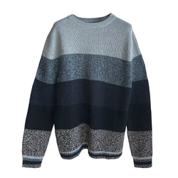 Denis Colomb Lifestyle - Aluminium Grey Smokey Blue Moonless Night Midnight Blue Black Cashmere Hand Knit Weed Stripes Sweater