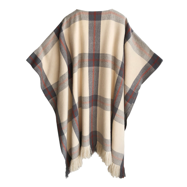 Denis Colomb Lifestyle - Apricot Mist Black Olive Barn Red Cashmere Classic Plaid Poncho