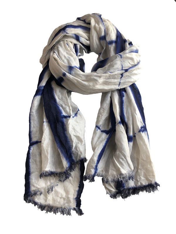 Denis Colomb Lifestyle - Blue Froisse Silk Tie Dye Shawl