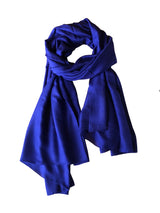 Georgia Silk Large Shawl 100 Silk Royal Blue Losse TIe