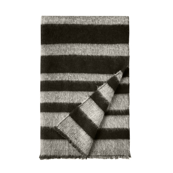 Denis Colomb Lifestyle - Black Grey Yak Cotton Hokkaido Zebra Stole