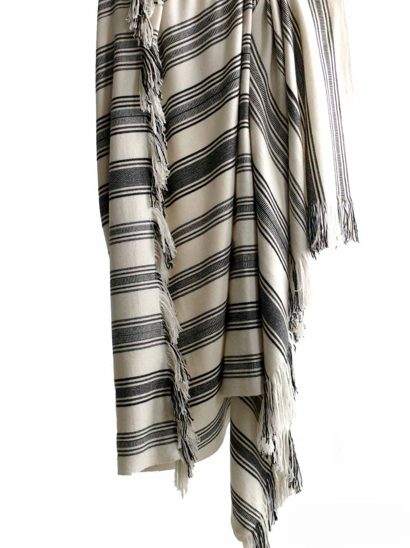 Denis Colomb Lifestyle - White and Grey Striped Cashmere Tibetan Blanket