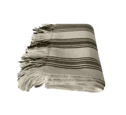 Denis Colomb Lifestyle - White and Navy Striped Cashmere Tibetan Blanket