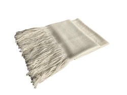Denis Colomb Lifestyle - White Cashmere Long Fringe Shawl