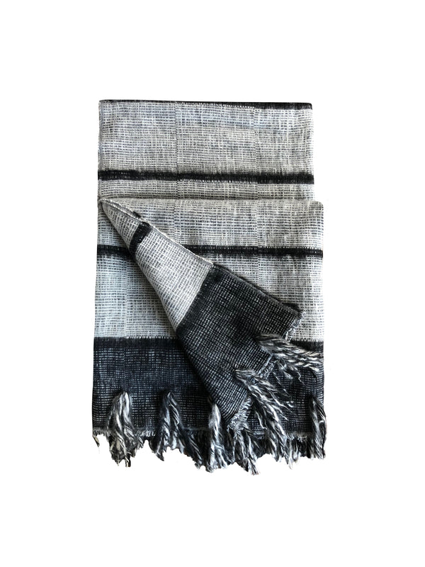 Denis Colomb Lifestyle - Grey and Black Dolpo Cashmere and Cotton Fringe Shawl