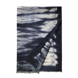 Denis Colomb Lifestyle - Smokey Blue Midnight Blue Cashmere Zebra Tie Dye Stole