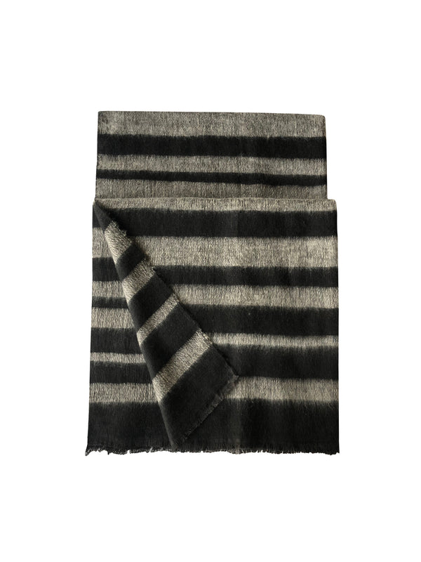 Denis Colomb Lifestyle - White and BlackStripes Dolpo Tribal Cashmere and Cotton Shawl