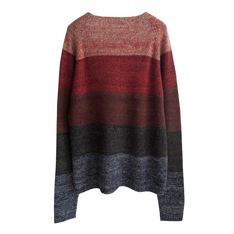 Denis Colomb Lifestyle - Elephant Skin Red Marsala Tibetan Red Monk Cashmere Hand knit Tweed Stripes Sweater