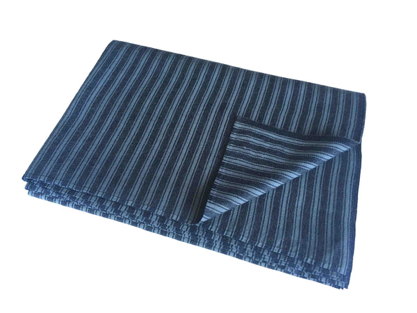 Denis Colomb Lifestyle - Light Blue and Black Stripes Cashmere and Silk Jimbaran Throw