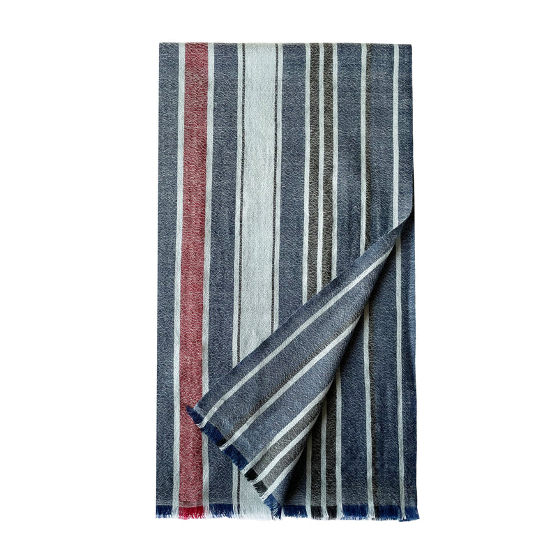 Blue Cashmere Kirat Stripes Stole - denis-colomb-lifestyle
