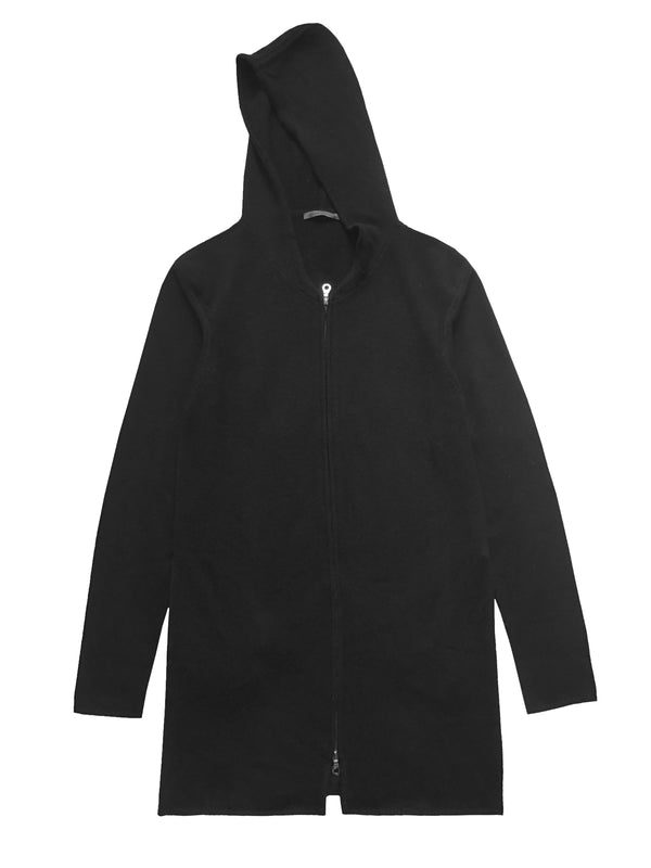Cashmere Black Long Zip Up Hoodie - Denis Colomb Lifestyle