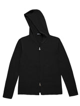Mens Zip Up Hoodie - 100 Cashmere - Black