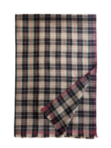 Mera Plaid Stole 100 Handwoven Cashmere Tibetan Red Monk Cappucino Chili Moonbeam Fold