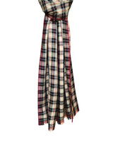 Mera Plaid Stole 100 Handwoven Cashmere Tibetan Red Monk Cappucino Chili Moonbeam Hang