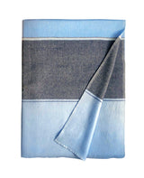 Monsoon Stripe Throw 50 Cashmere 50 Silk Blue Paris Mid Blue Powder Blue Fold
