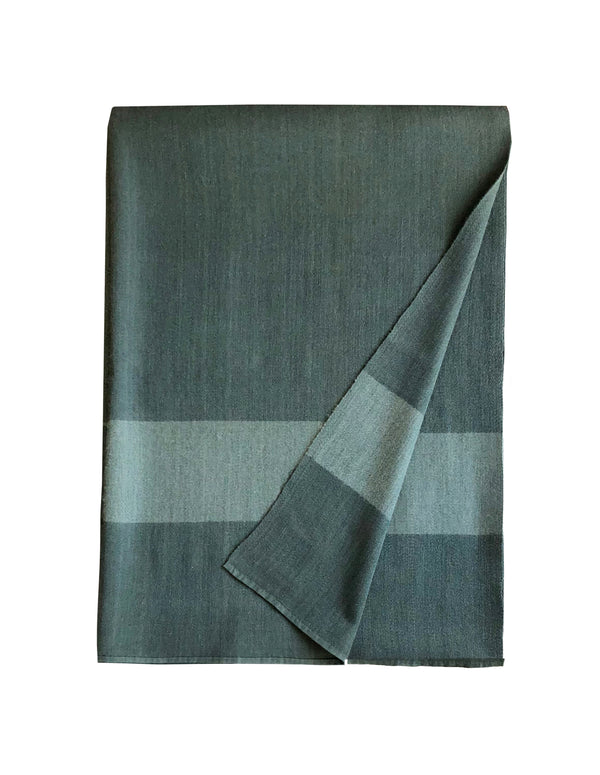 Denis Colomb Lifestyle - Dark Teal and Blue Monsoon Stripe Throw Cashmere and silk