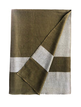 Monsoon Stripe Throw 50 Cashmere 50 Silk Dk Military Green Pearl Blue Fold