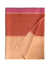 Monsoon Stripe Throw 50 Cashmere 50 Silk Peche Velour Rose Violet Argile Rouge Front
