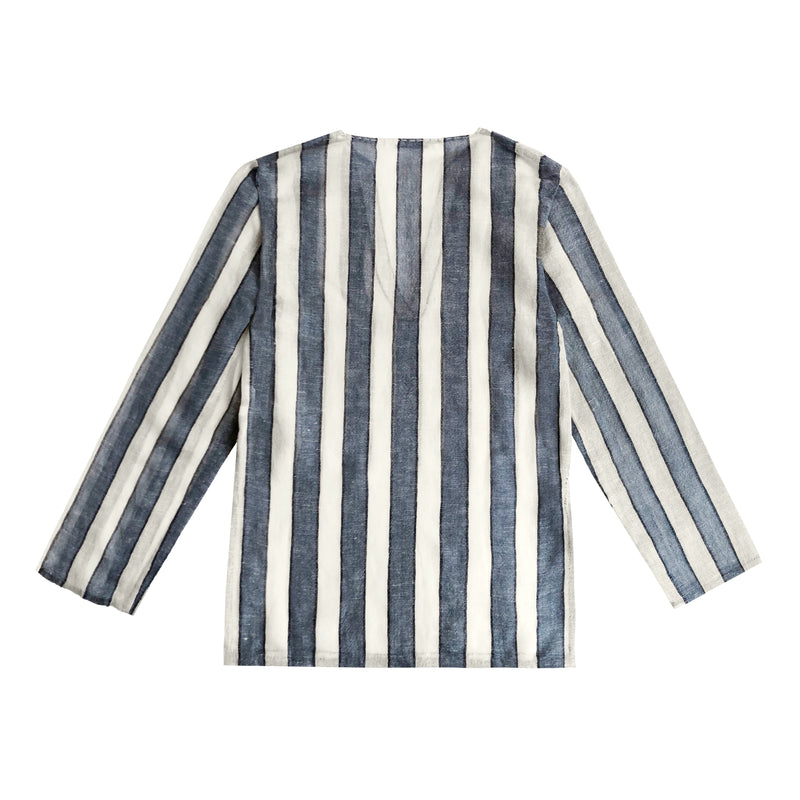 Denis Colomb Lifestyle - Dark Blue Grey White Black Striped Raj Tunic