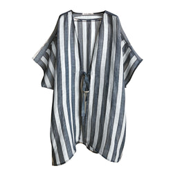 Denis Colomb Lifestyle - Dark Blue Grey White Black Kimono Striped Coat