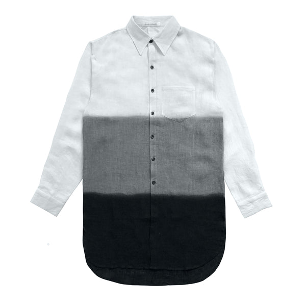 Denis Colomb Lifestyle - White Charcoal Black Linen Shirt
