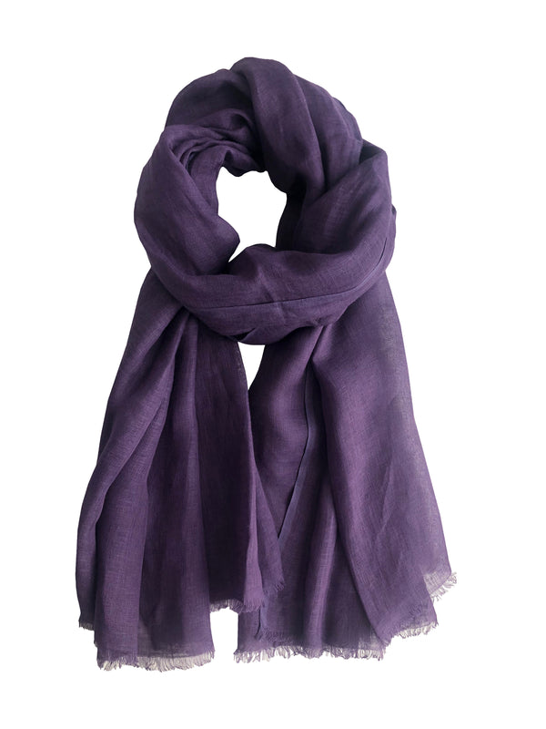 Denis Colomb Lifestyle - Purple Linen Samba Solid Large Shawl