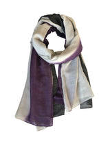 Sliky Cloud Dip Dye Shawl 80 Cashmere 20 Silk Purple Plumeria Light Grey Black Loose Tie