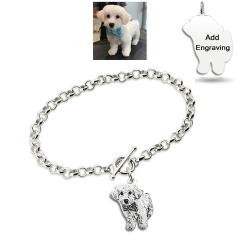 Customized Pet Photo Engraved Bracelet Sterling Silver