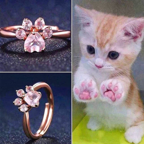 925 Sterling Silver Rose Gold Cat Paw Ring W12767