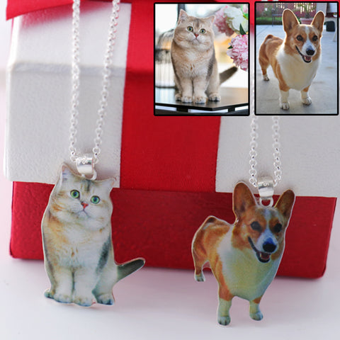 Full Color - Customized Pet Photo Necklace Sterling Silver