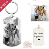 Customized Pet Photo Engraved Keychain Sterling Silver