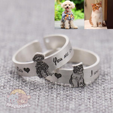 Customized Pet Photo Engraved Ring Sterling Silver W13586