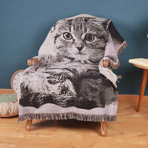 My Cat Sits Here Large Decorative Blanket