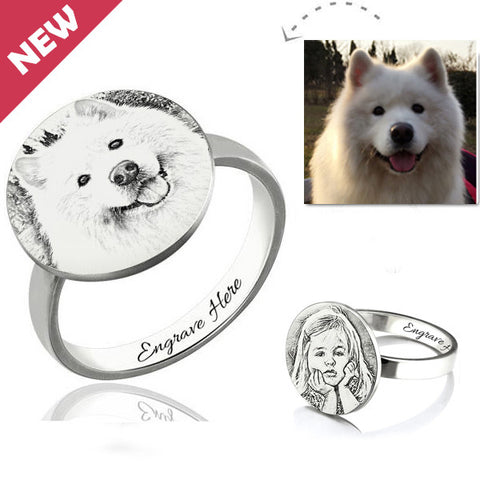 Customized Personalized Pet Photo Engraved Ring