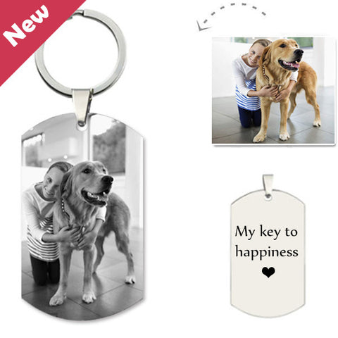 Customized Pet Photo Engraved Keychain