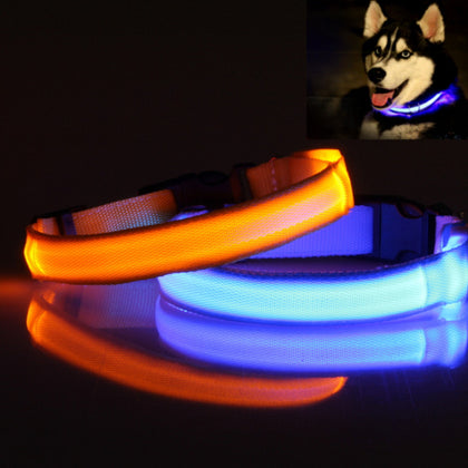 LED Polyester Night Safety Dogs Cats Collar