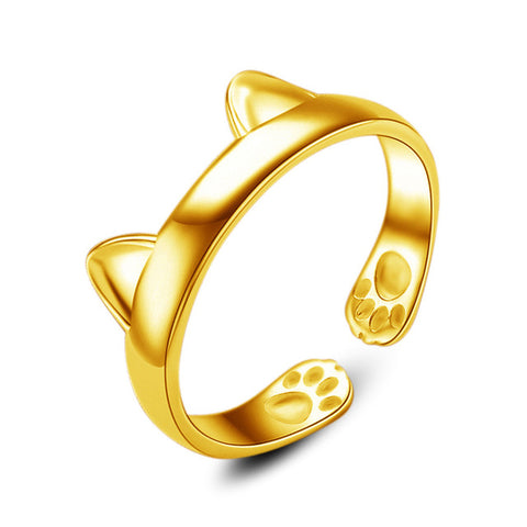 Cute Cat Ear Open Design Plated Gold Silver Ring