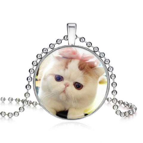 Handmade Silver Color Cat Kids Glass Necklace