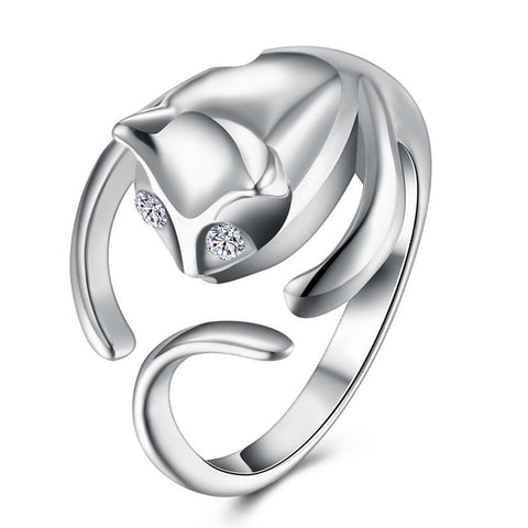 Zircon Eye  Sterling Silver Charm Rings For Women